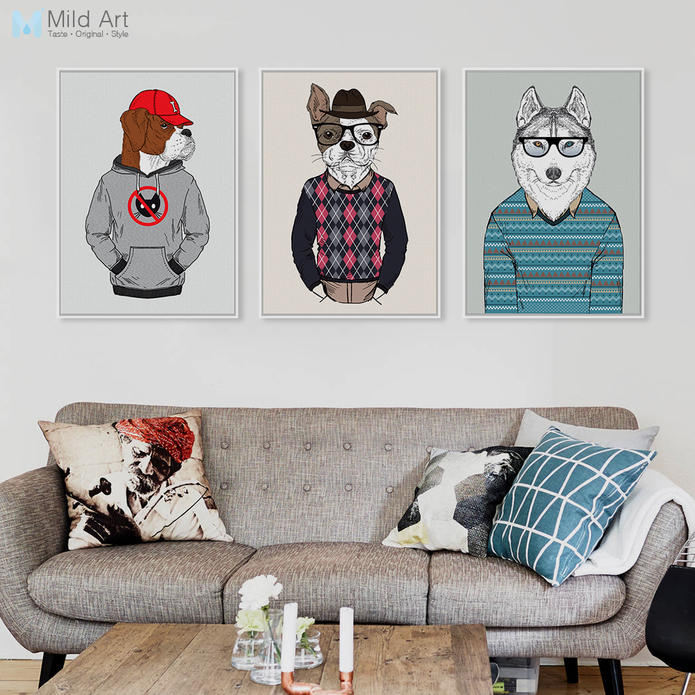 Modern Fashion Animals Cartoon <font><b>Hippie</b></font> Dogs A4 Large Art Print Poster <font><b>Home</b></font> Wall Picture Canvas Painting Girl Room <font><b>Decor</b></font> No Frame