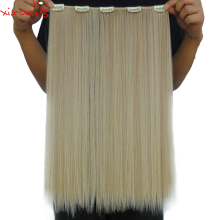 5 Piece/Lot X Synthetic Clip in Hair Extensions 50cm Straight Hairpiece Clips One Piece 50g gamboge Color 25