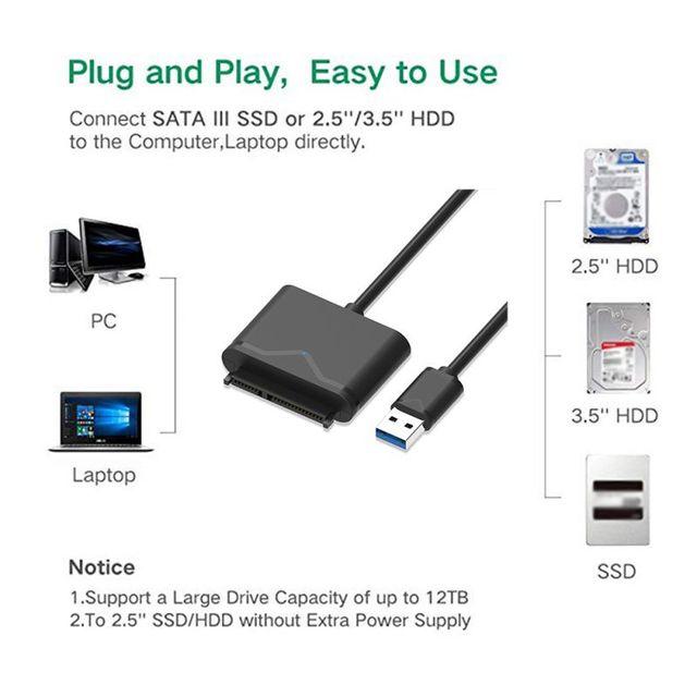50cm SATA vers USB adaptateur USB 3.0 câble vers Sata convertisseur pour 2.5 3.5 HDD SSD Support de disque dur UASP pour Win 8 8.1 10 Mac OS 8