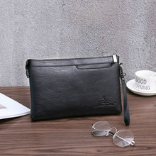 New Brand Leather Long Wallets Men Clutch Bag With Strap Handy Zipper Purse Man Card Holder Phone Pocket Large Capacity