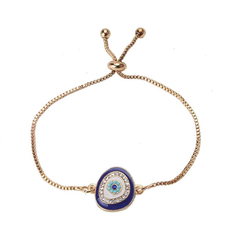 Lucky Eye Charms Bracelet Chain Link Bracelet For Women Crystal Blue Pendant Jewelry 75pcs цена