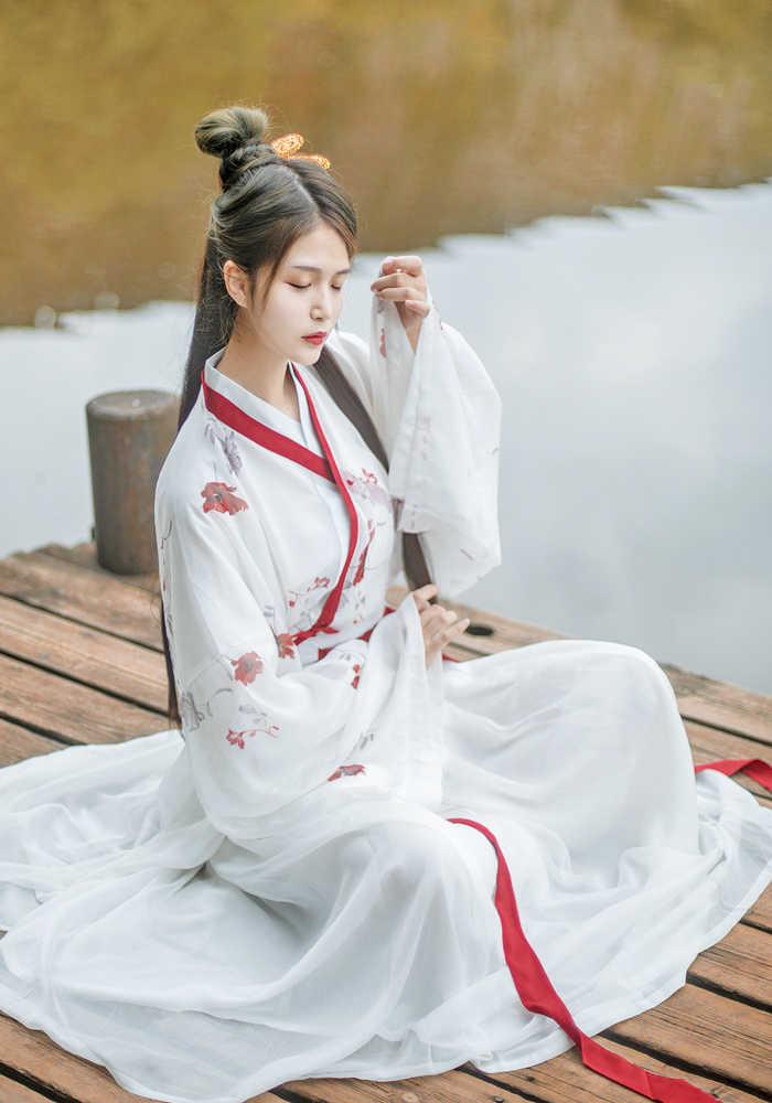 Белый Волшебный древний костюм ханьфу для традиционного китайского танца костюмы вышивкой Тан костюм элегантные производительность Костюмы