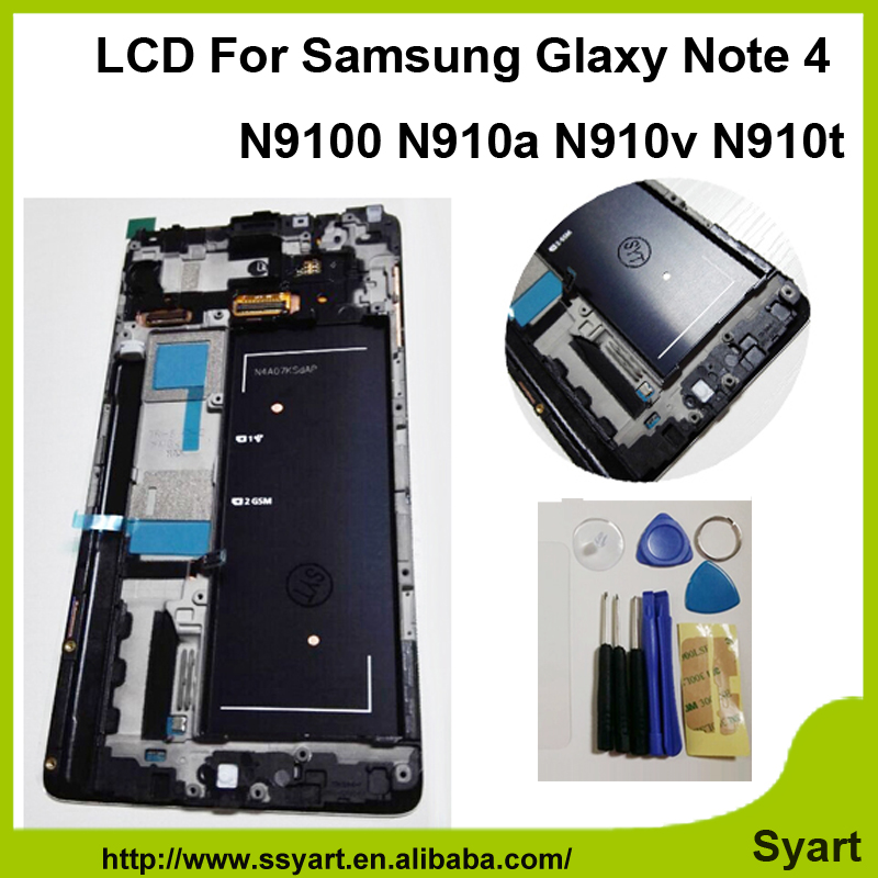 Fast shipping White Color with frame For Samsung Note 4 LCD Screen N9100 lcd Display 5
