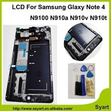 Envío rápido de color blanco con el marco para samsung note 4 lcd N9100 Pantalla lcd de 5.7 pulgadas lcd de pantalla Smartphone con Reparación de peaje