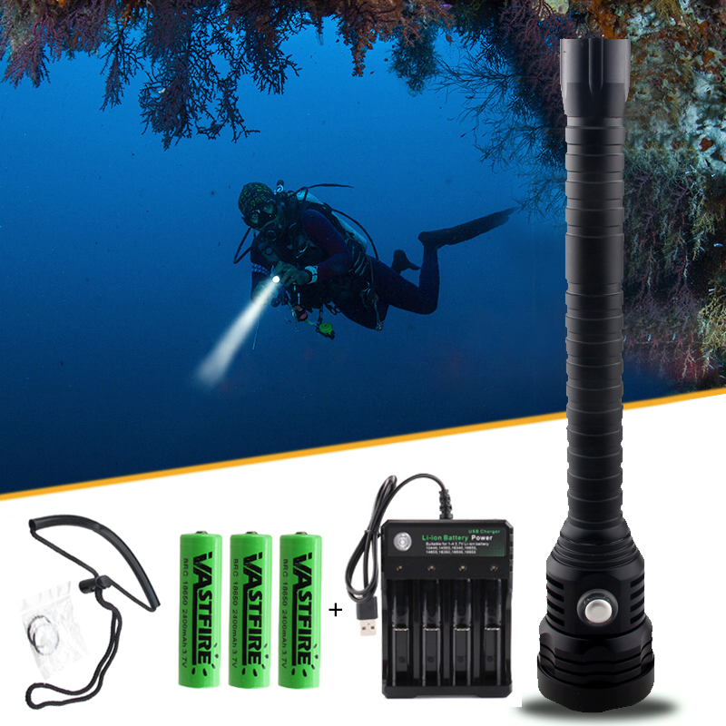 Super Brightness XHP70 LED chip White Diving Light 4000lm Diving Flashlight Tactical 18650 Torch Underwater 100M