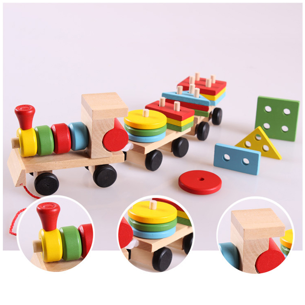 Toddler Baby Wooden Stacking Train Block Toy Fun Vehicle Block Board Game Toy Wooden Educational Toy Gift for Children 81pcs set assemblled gear block montessori educational toy plastic building blocks toy for children fun block board game toy