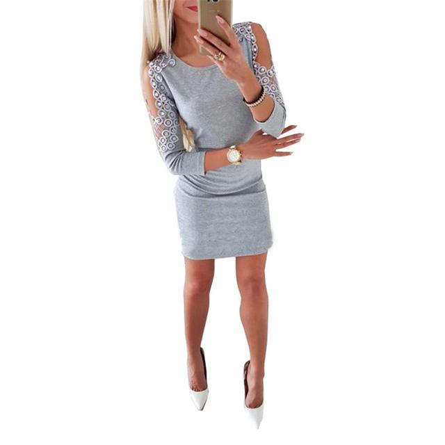 Cold shoulder short grey dress