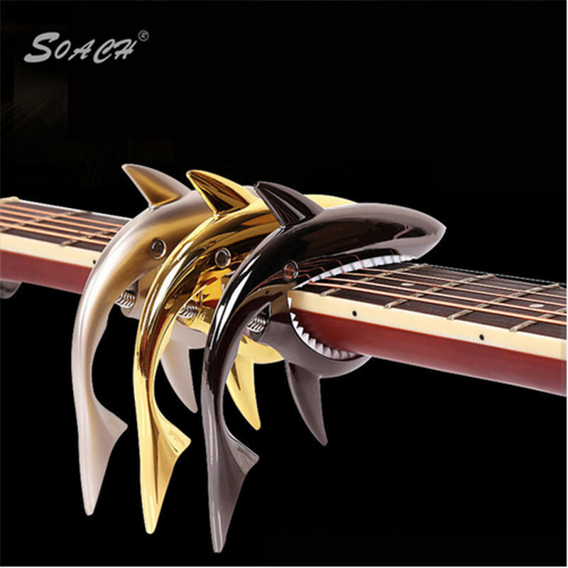 SOACH 3colors sold together Professional Peculiar Acoustic Guitar Shark Shape metal Capo Musical Instruments Gift guitar parts