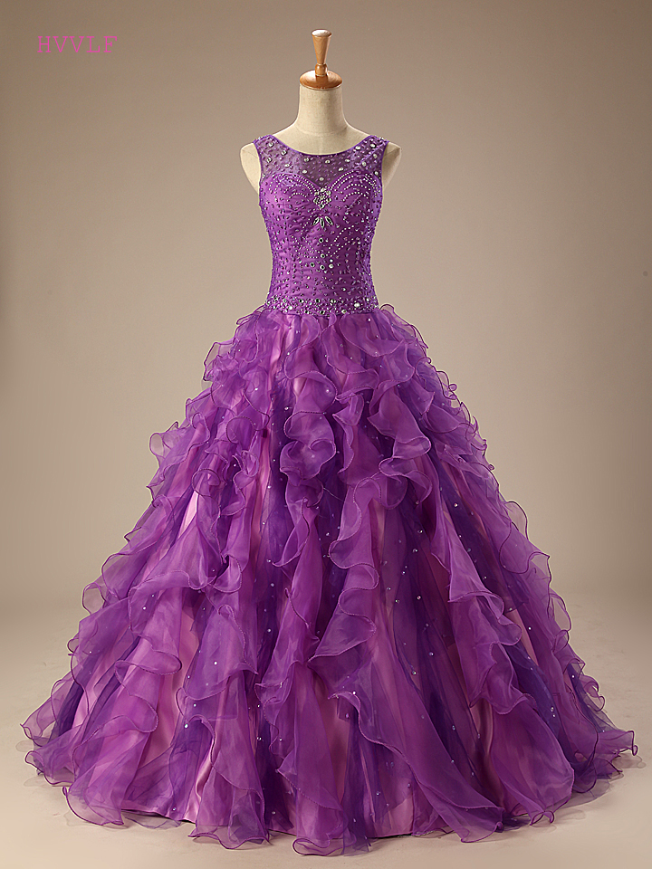 Purple Puffy 2019 Cheap Quinceanera Dresses Ball Gown Scoop Organza Beaded Crystals Pearls Ruffles Sweet 16 Dresses