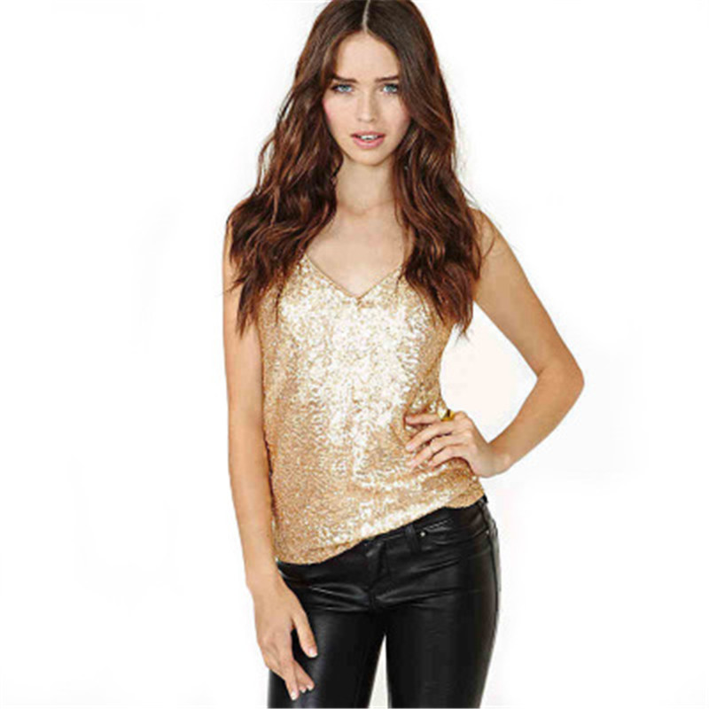 Summer Sexy Sling Tops Solid Color Slim Fit V neck Gold Sleeveless Sequined Tank Tops Women AN1002