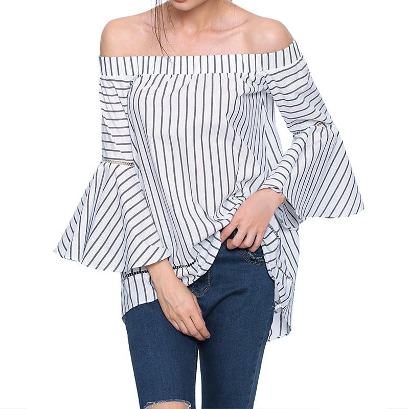 Verano para mujer vintage de la raya vertical de cuello flare manga ruffles blusa a rayas dobladillo asimétrico del hombro flojo ocasional tapas de la camisa