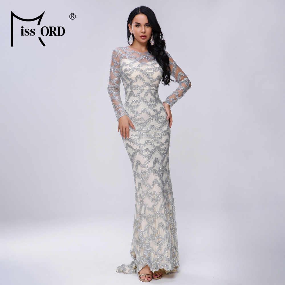 Missord 2019 женское сексуальное платье с высоким воротом и длинным рукавом, блестящее платье для выпускного вечера, женское элегантное Макси Вечерние Платье vestdios FT18305-1