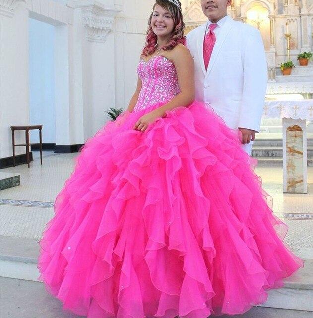 837219714 Rosa fucsia Vestidos de Quinceañera vestido 15 anos Debutante debutante  Amor Atractivo Largo Con Cuentas de
