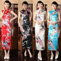 New style fashion female long design sleeveless cheongsam dress summer peacock drop vintage women's slim sexy clothing