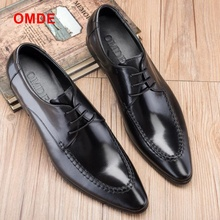 OMDE British Style Genuine Leather Formal Shoes Pointed Toe Mens Dress Shoes Breathable Lace-up Men Party And Wedding Shoes цена