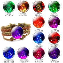 12 Zodiac Constellation Vintage Signs Jewelry Libra Aries Braided Leather Bracelet Virgo Scorpio Sagittarius Birthday Gift