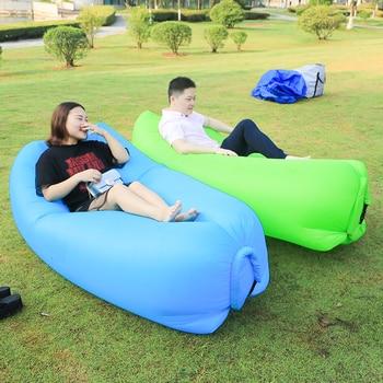 Schnelle Garten Sofas Aufblasbare Faul Tasche Luft Sofa Camping Tragbare Luft Banana Sofa Strand Bett Air Nylon Sofa Laybag