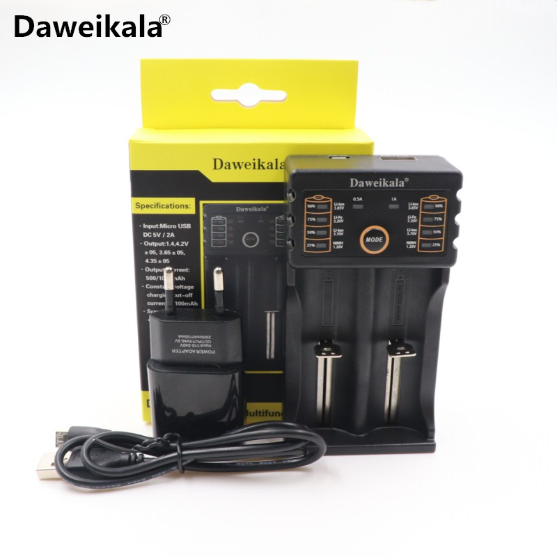 Daweikala DAA-201 18650 Battery charger 1.2V 3.7V 3. 3.85V AA /AAA 18650 26650 14500 NiMH lithium battery charger+2A Adapter