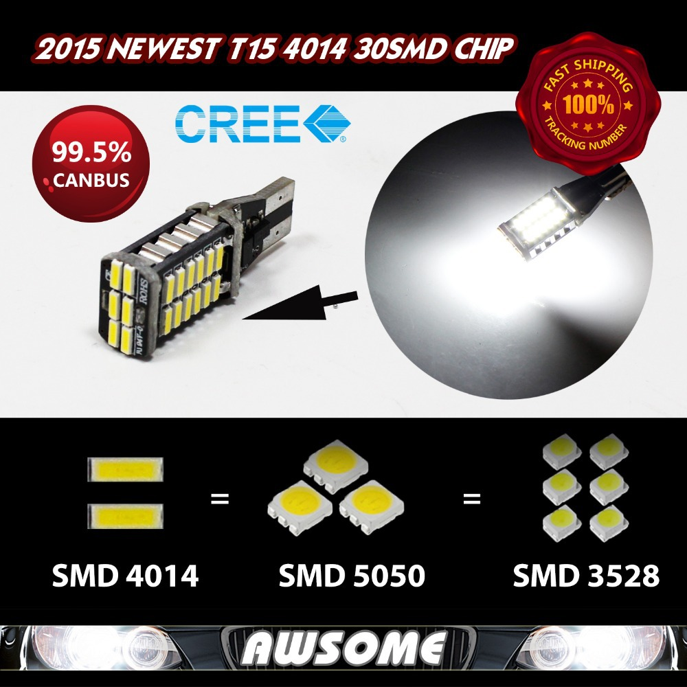 2x T15 W16W LED CANBUS ANTI ERROR 4014 30SMD LED Strong Bright Car Turn Singal 3rd Brake Stop Light 1000-1200LM High Power