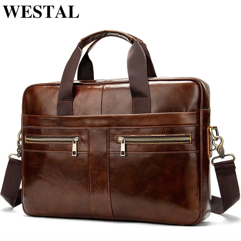 WESTAL sac porte-documents en cuir véritable pour homme homme homme pochette d'ordinateur en cuir naturel pour hommes Messenger sacs hommes porte-documents 2019