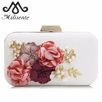 Milisente Women Flower Evening Bag Ladies Party Clutch Purse Female Royal Blue Day Clutches With Pearl Chain