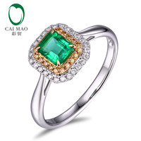 Caimao 18Kt/ 750 Gold 0.73ct Natural Emerald 0.21ct Diamond Engagement Ring Jewelry Gemstone
