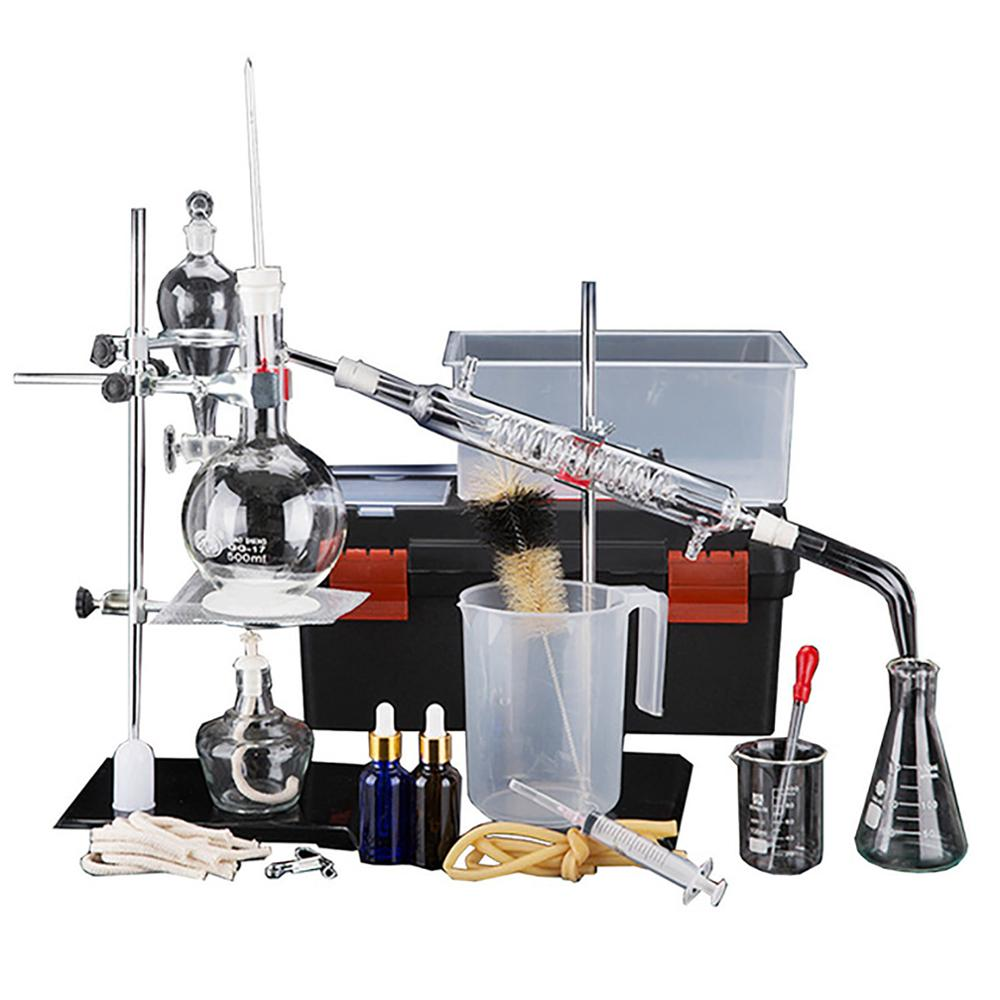 44pcs New 500ml Lab Essential Oil Distillation Apparatus Water Distiller Purifier Glassware Kits W/Tool Case Condenser Pipe