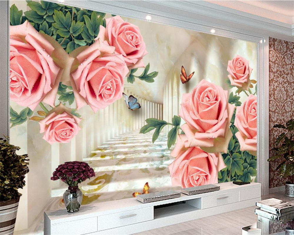 Aliexpress Com Buy Large Custom Mural Wallpapers Living: Beibehang Custom Large 3D Wallpaper Extension Space Rose