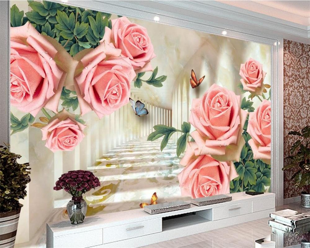 Aliexpress Com Buy Large Custom Mural Wallpapers Living: Beibehang Custom Large 3D Wallpaper Extension Space Rose