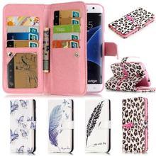 Для Samsung Galaxy S7 край флип чехол Элитный бренд кожаный бумажник Стенд телефона случаях и охватывает 3D рельеф мультфильм 9 карт Держатель