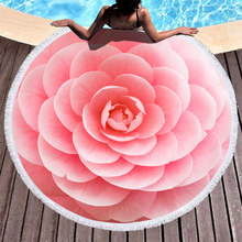 Boho Microfiber Beach Towel 3D Pink Flowers Sport Yoga Blanket Summer Swimming Bath Round 150cm