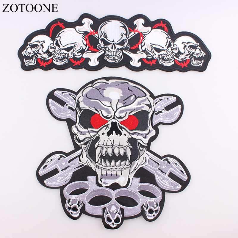 ZOTOONE Skull Embroidery Cool Patch Motorcycle Iron On Big