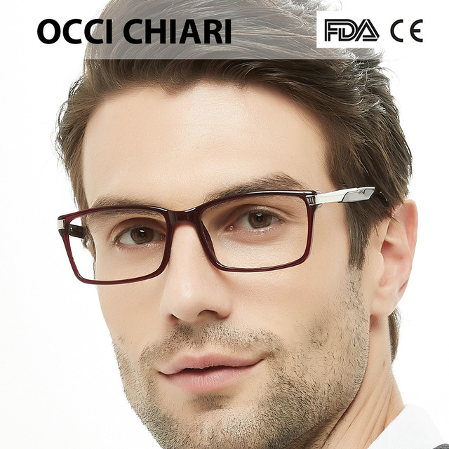 38837cfa78f OCCI CHIARI Eyewear Frames Optical Eyeglasses Eyewear Gafas Rectangle Men  Black Prescription Glasses Frames Clear Lens W-CAPATI