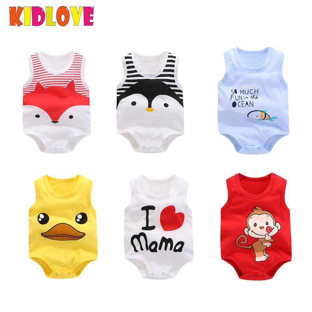 KIDLOVE Baby Boys Girls Cute Cartoon Pattern Romper Sleeveless Vest Jumpsuit Summer Kids Infant Romper 1 pc Children Romper