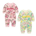 Autumn Lovely Floral Printing Baby Rompers 100% Cotton Full Sleeves Girls Jumpsuit Infant Overall Kids Outfit Children's Clothes