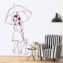 Wall Art Sticker Girls With Umbrella And Cat Room Decoration Vinyl Removeable Poster Modern Fashion Mural Kids Room Decal LY495 цена