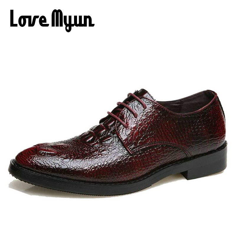 Fashion mens Crocodile pattern Leather shoes 3 colors Oxfords flats mens pointed toe dress shoes Wedding casual shoes AE-16