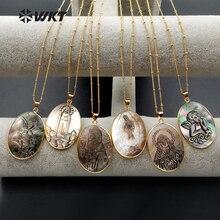 Colar de pingente feminino, colar com símbolo da sorte com concha natural de forma oval, recém chegado, WT N1083