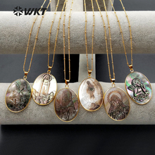 WT N1083 WKT New Arrival Natural Shell In Oval Shape With Different Lucky Symbol Sign Pendant Necklace For Women Necklace
