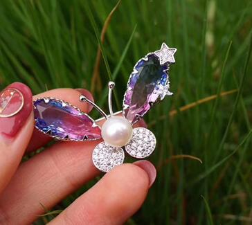 Free shipping 1pcs natural pearl brooch zircon high quality brooch pin for womenFree shipping 1pcs natural pearl brooch zircon high quality brooch pin for women