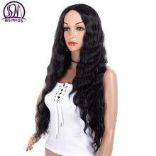 MSWIIGS الأرجواني طويل مجعد بيروكات صناعية للنساء الأبيض شعر مستعار أسود اللون ارتفاع درجة الحرارة شعر أحمر