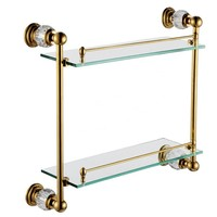 Free Shiping Crystal Brass Bathroom Shelf Double Shelf Pure Copper Glass Bathroom Hardware CY018