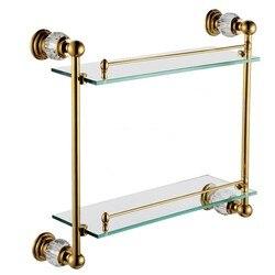 Free shiping crystal brass bathroom shelf double shelf pure copper glass bathroom hardware cy018.jpg 250x250