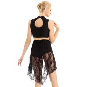 Image 3 - Tiaobug vestido collant assimétrico brilhante, sem mangas, renda, collant, mulheres, figura, skate, vestido contemporâneo, traje de dança