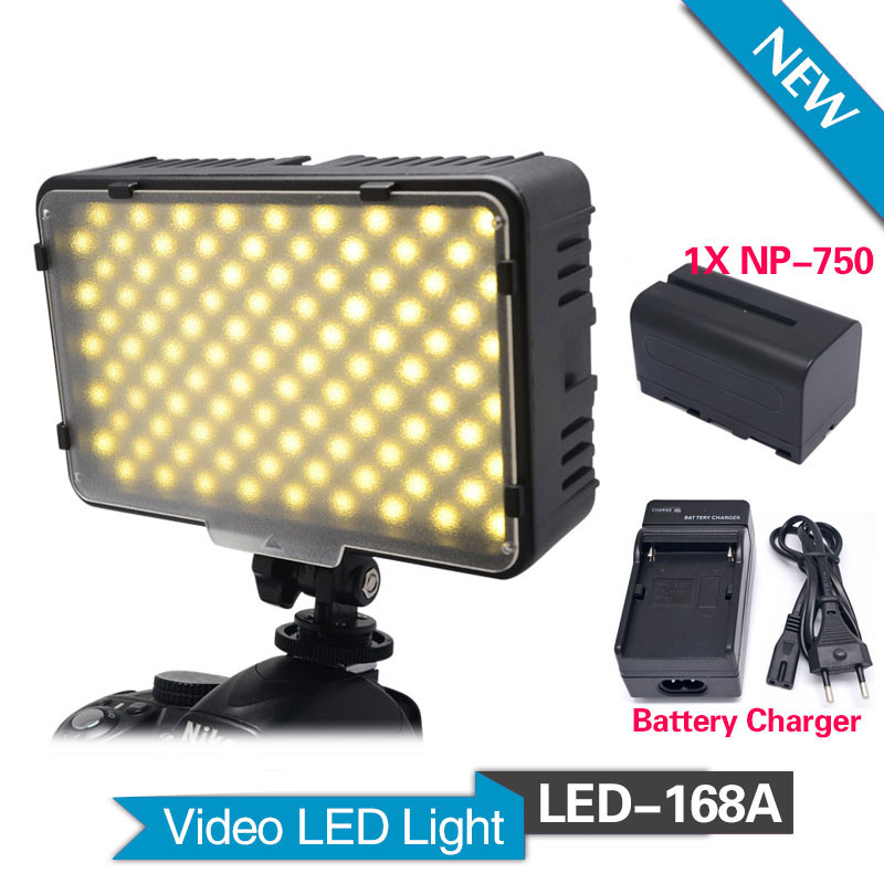 ФОТО Mcoplus 168A LED Video Light with 1pcs NP-F750 battery for Camcorder & Digital SLR Cameras