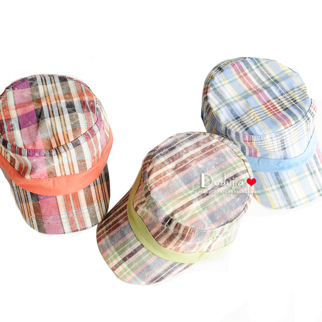 Bonnet spring check male child baby hat 100% cotton child baseball cap