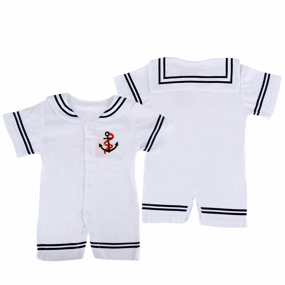 2017 Newborn Baby Clothes Navy Sailor Uniforms Summer Baby Rompers Short Sleeve One-pieces Jumpsuit Tiny Cotton Baby Clothing 2016 summer short sleeve baby boy sailor suit jumpsuit infant clothing navy newborn baby rompers