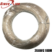 100Meter/lot transparent cable speaker cable 2pin gold silver tinned copper audio cable 0.15 square LED wire audio speaker Line