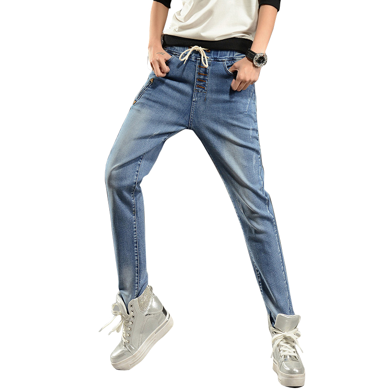 2017 drawstring Boyfriend Women Denim cotton mid Elastic waist Pants Spring Summer Jeans Female black long
