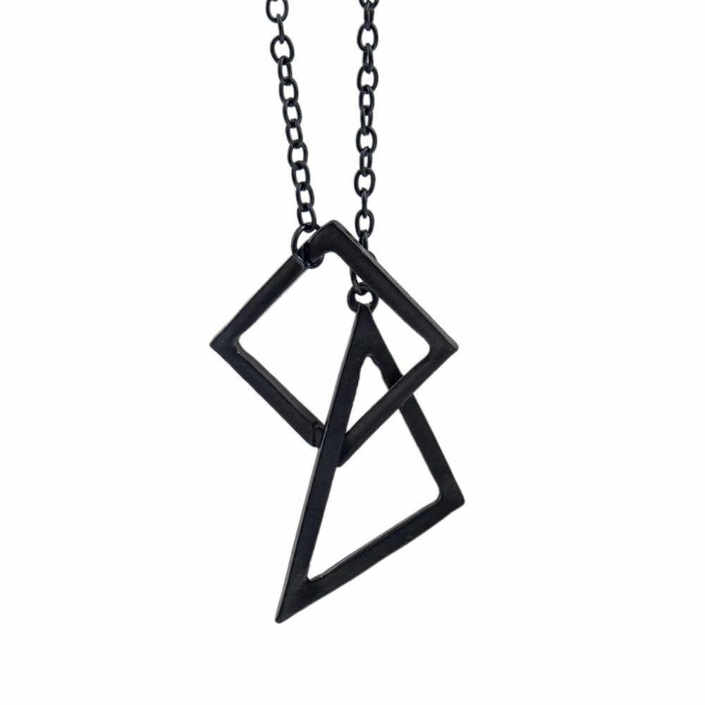 2018 trójkąt kwadratowy krzyż wisiorek naszyjniki czarny długi łańcuch sweter Hollow wzór geometryczny oświadczenie urok kobiety mężczyźni biżuteria punkowa